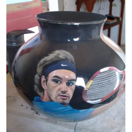 82 Zandschildering Roger Federer